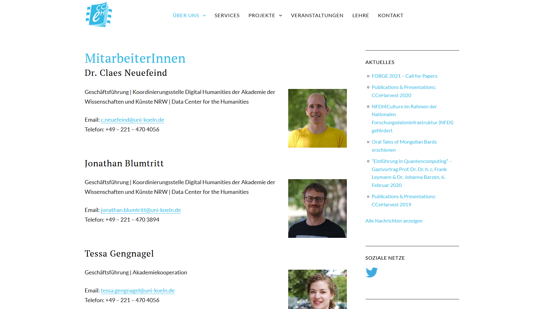 screenshot of the old CCeH website, team page, 23 june 2021