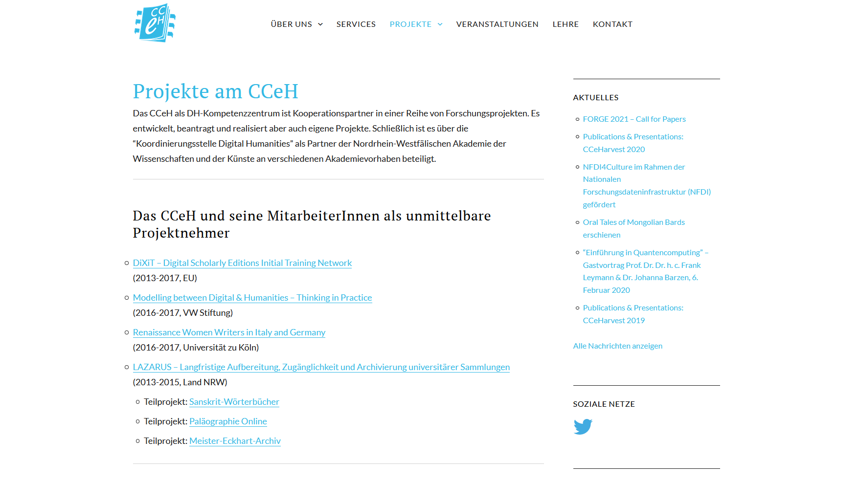 screenshot of the old CCeH website, projects list, 23 june 2021