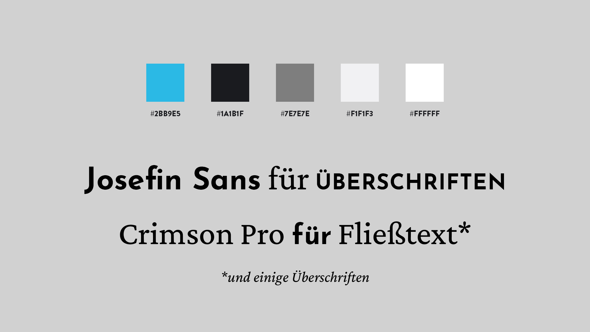 design card showing the fonts (Josefin Sans, Crimson Pro) and the color scheme of this website (white, black, greys, one blue)