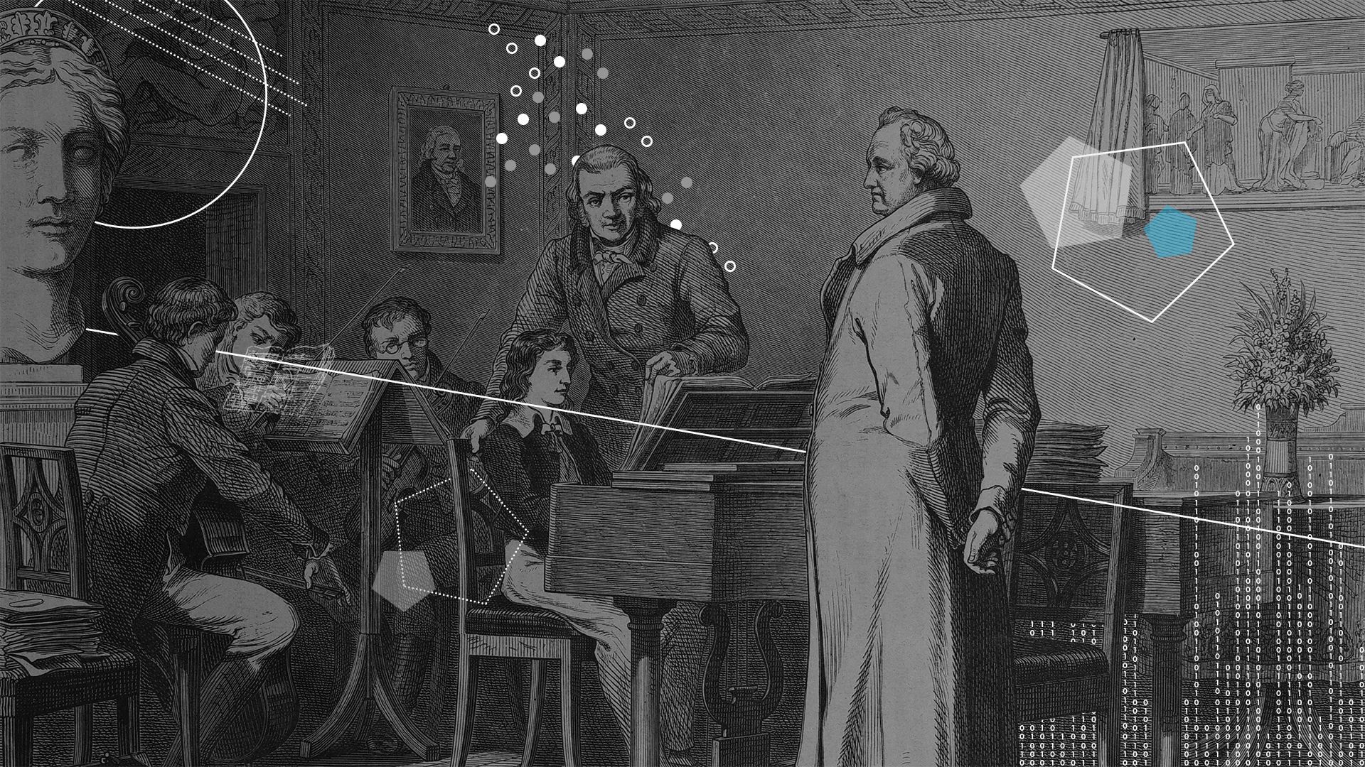 19th century depiction of young Felix Mendelssohn Bartholdy playing piano for Johann Wolfgang von Goethe