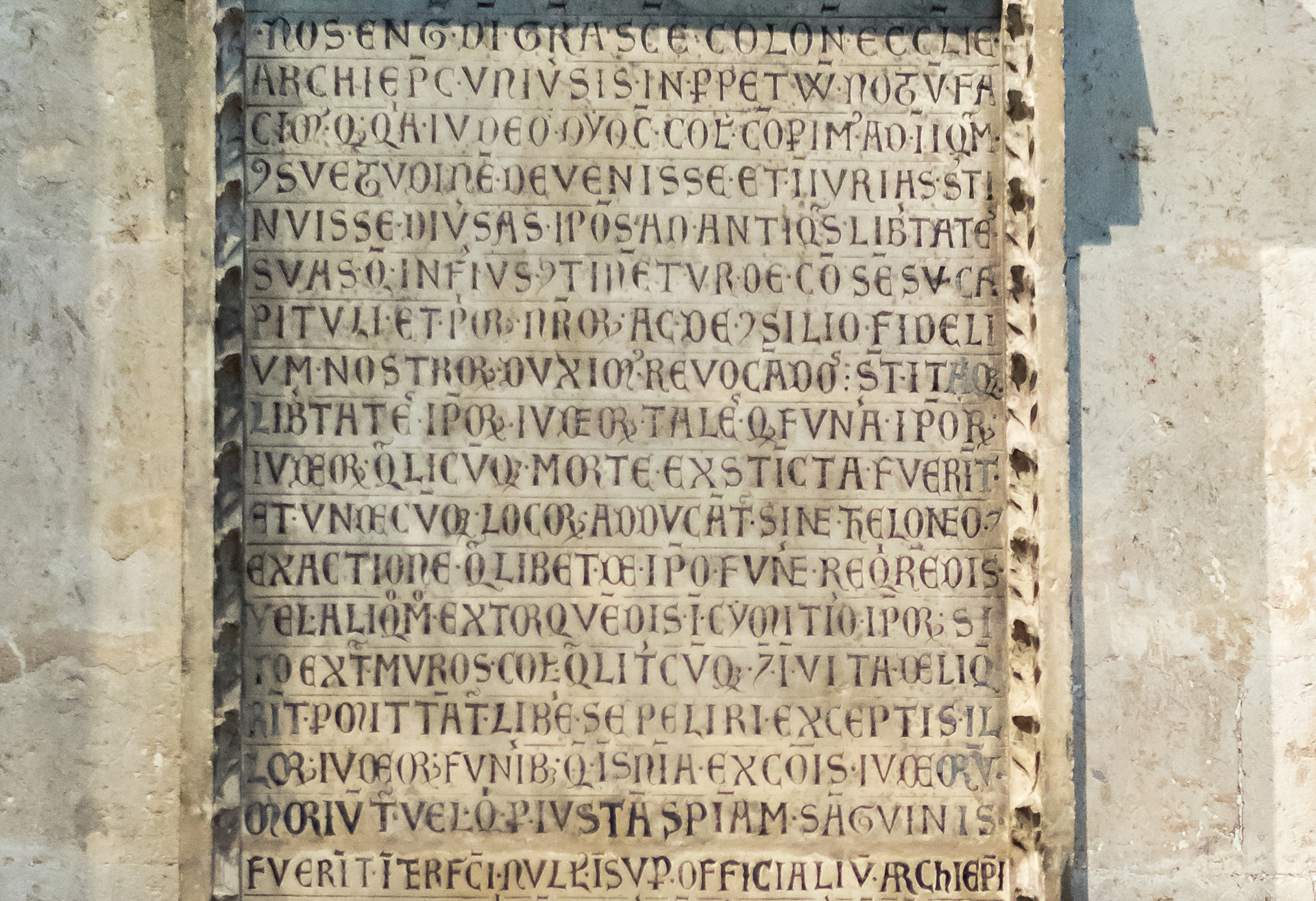 picture of a stone tablet with an inscription at the cathedral of Cologne