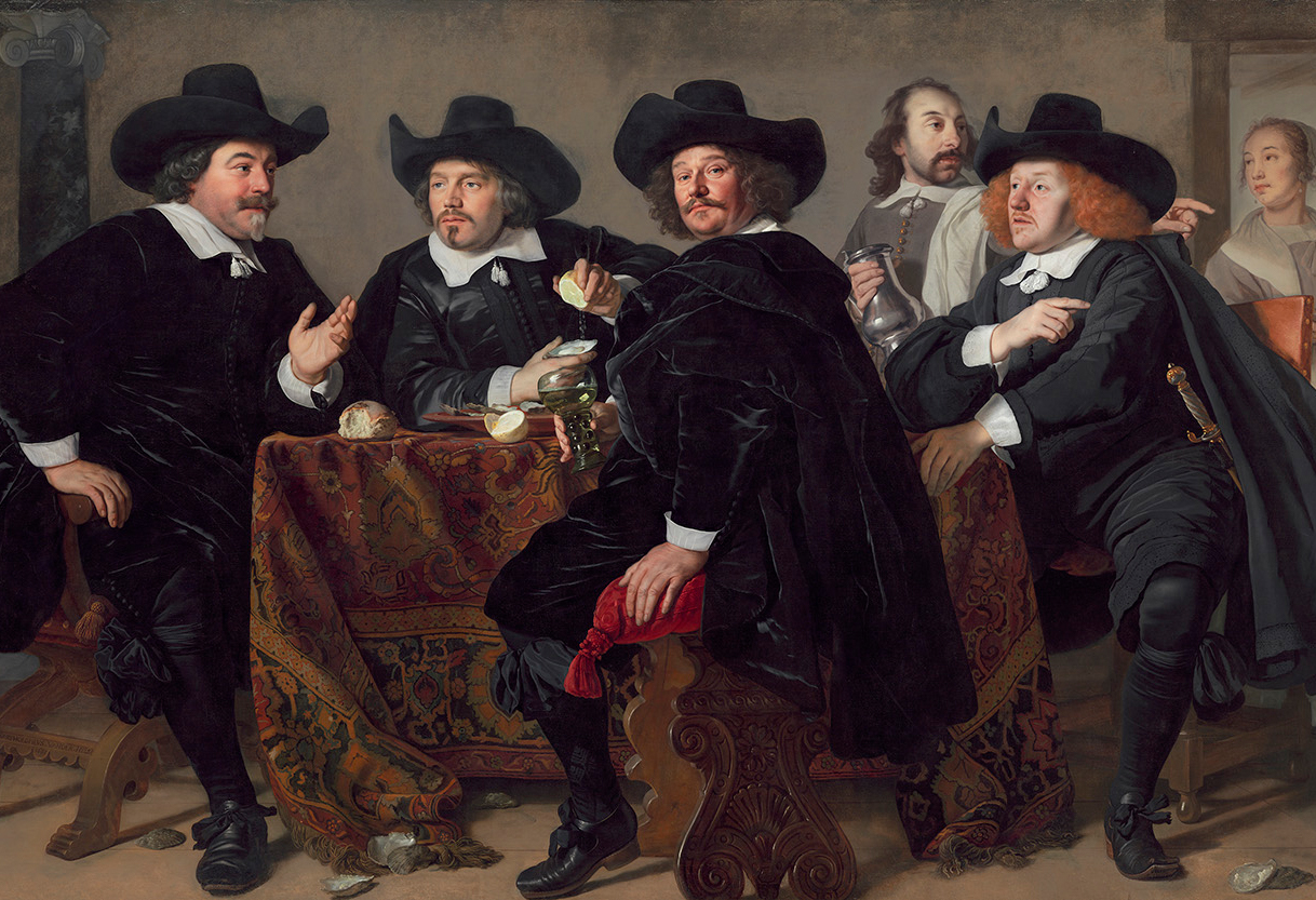 dutch painting from 1655 by bartholomeus van der helst, showing four aldermen sitting at a table