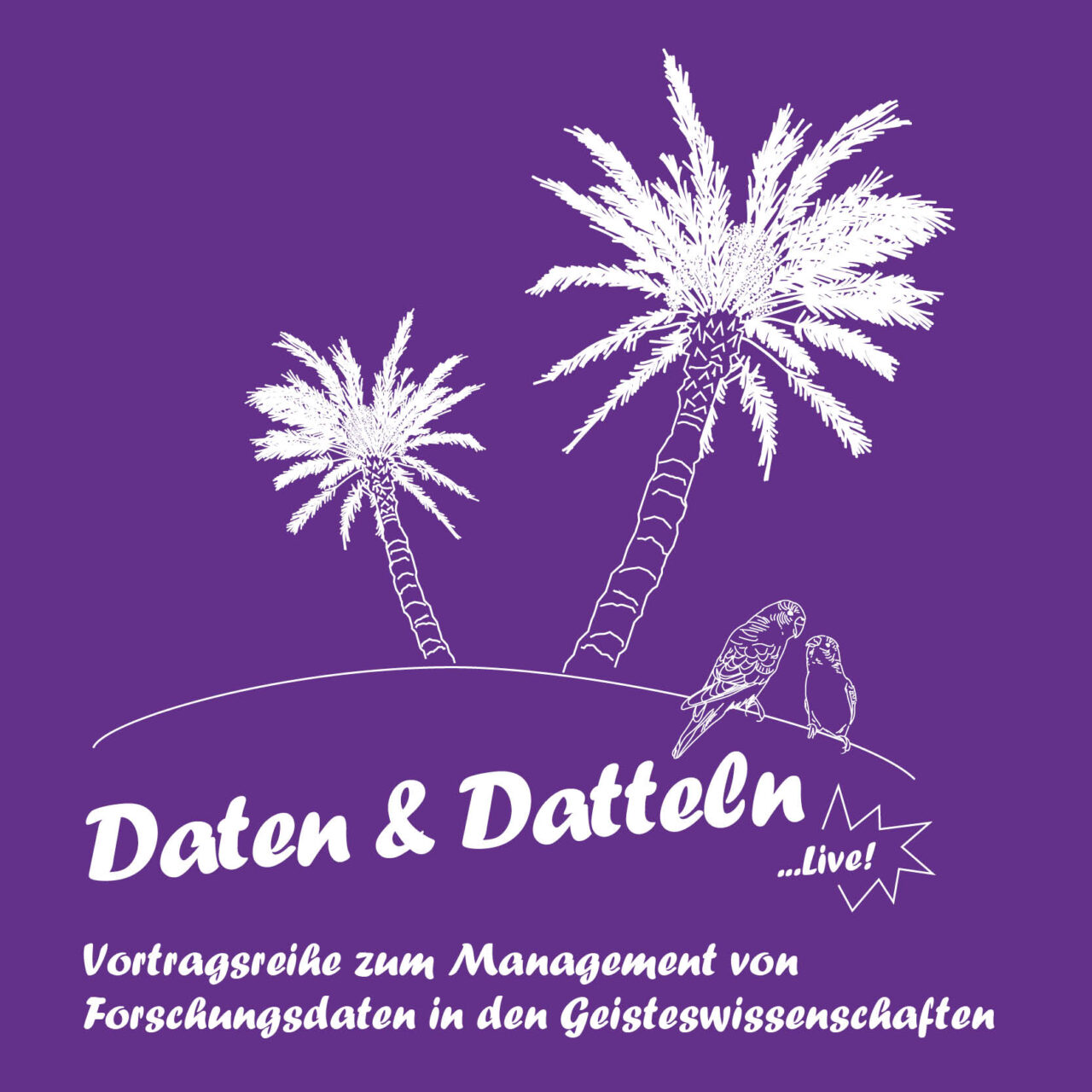 """promotional material for the lecture series """"Data and Dates"""" by the DCH, depicting a tropical theme with palms"""