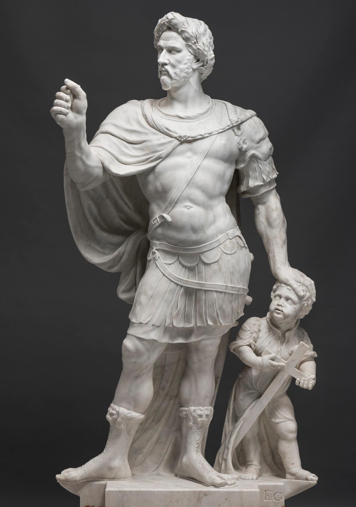 early modern sculpture of the Roman emperor Constantine the Great from the collection of the Stiftung Preußische Schlösser und Gärten Berlin-Brandenburg