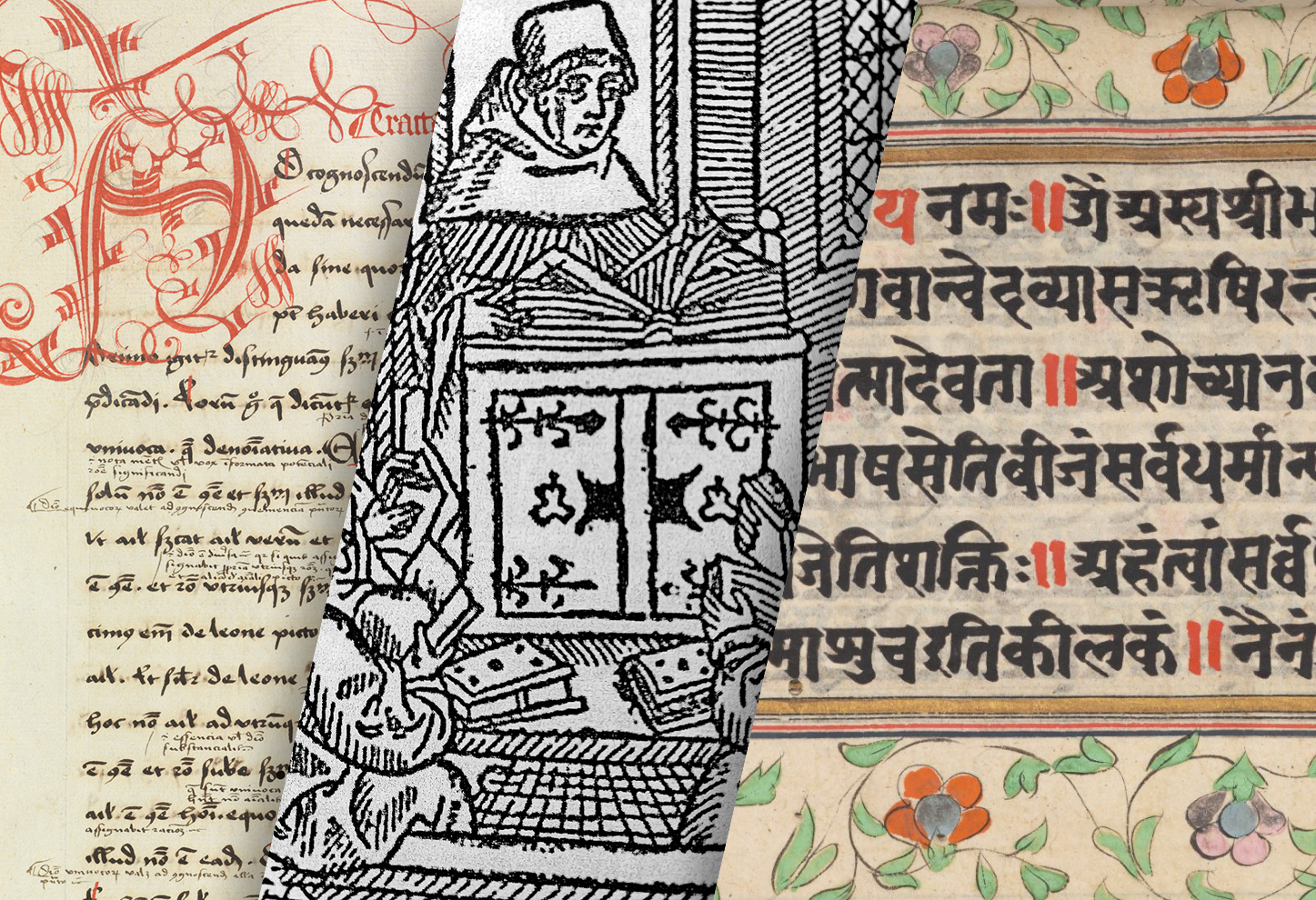 compilation of a Latin medieval manuscript, a woodcut depiction of a scholar teaching students, and a manuscript page of the Bhagavad Gita, written in Sanskrit in the 18th century
