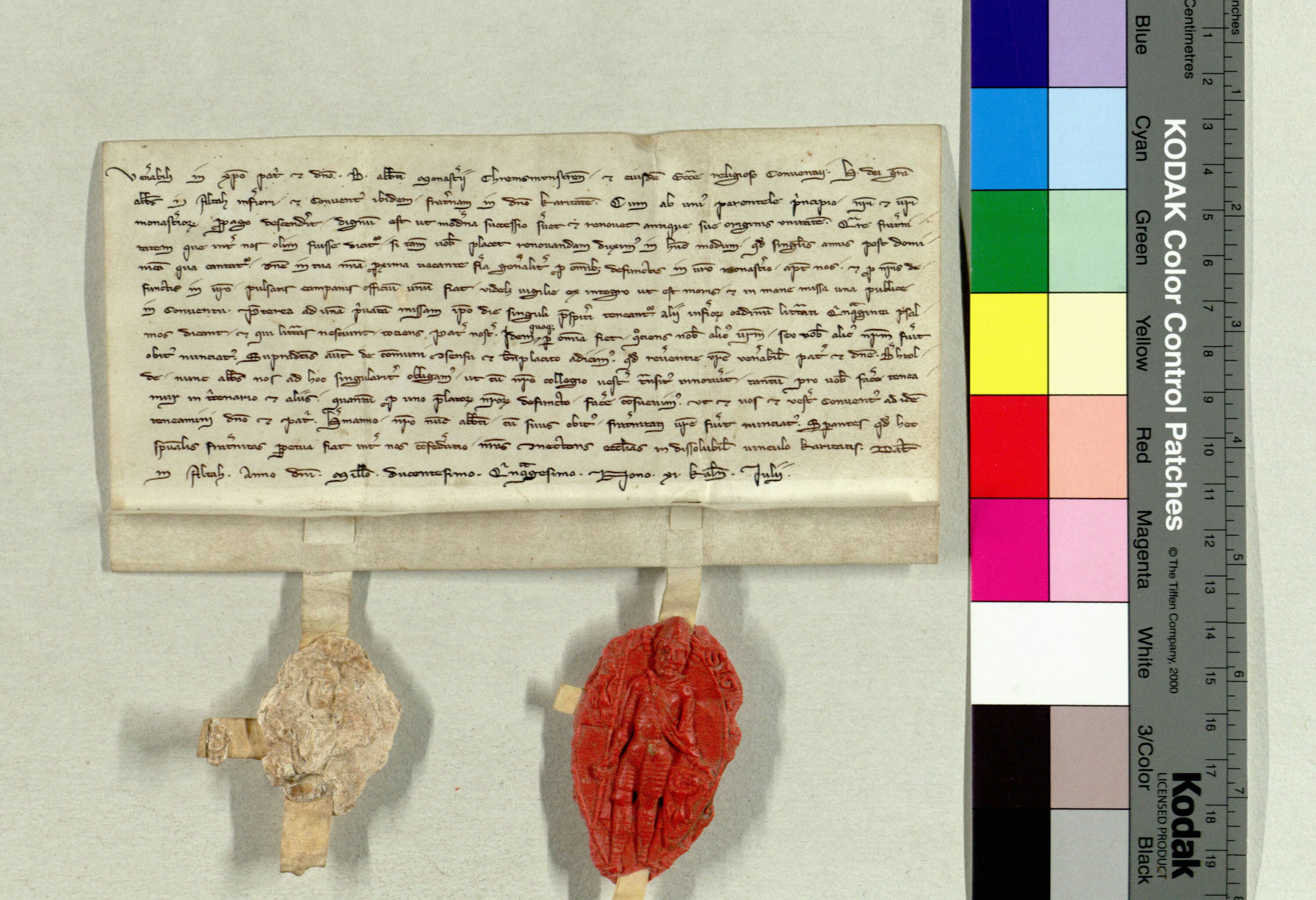 medieval charter with seal and colour strip