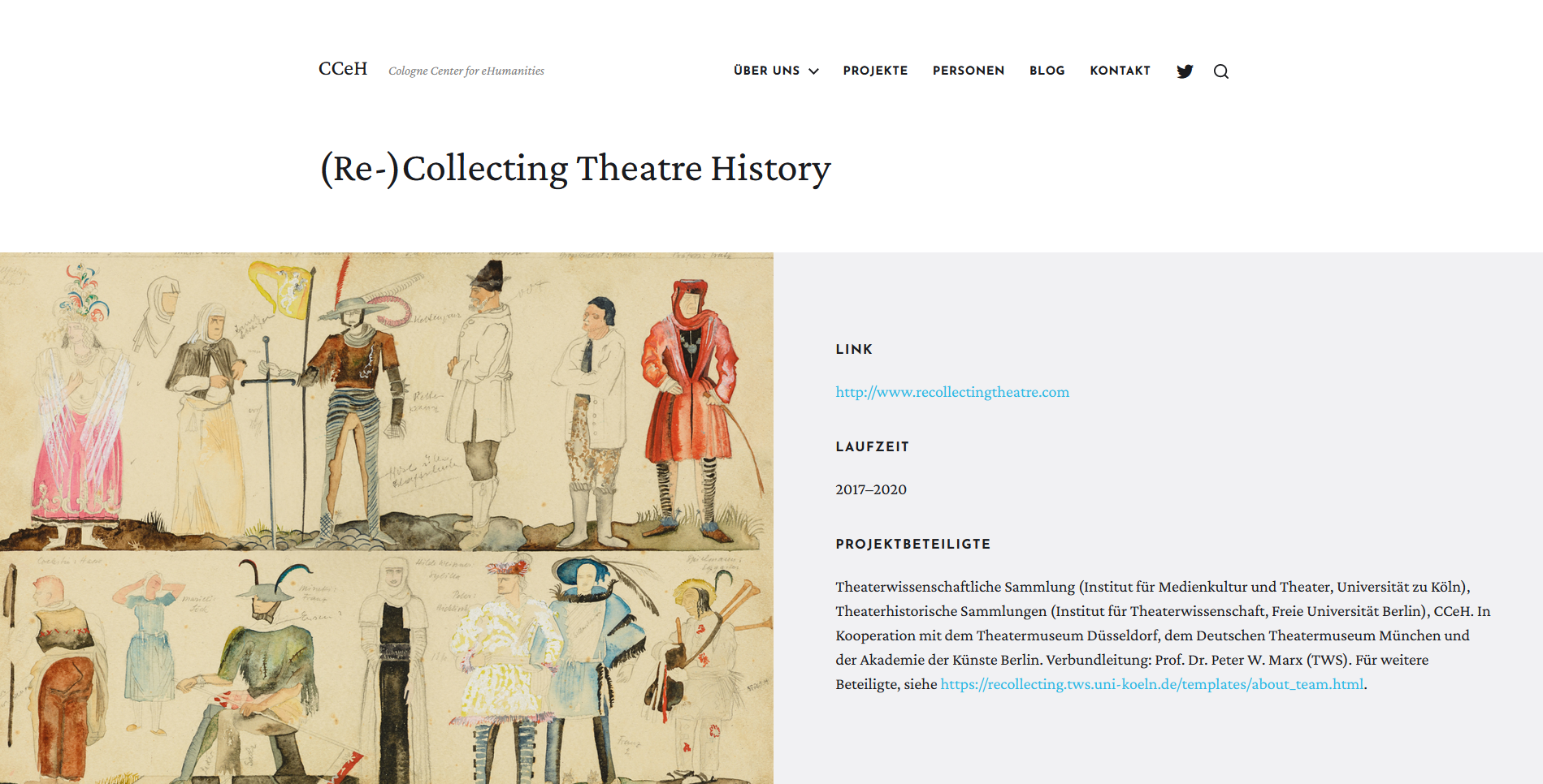 screenshot of the new CCeH website, example of a project page, in this case of the re-collecting theatre history project, 1 july 2021