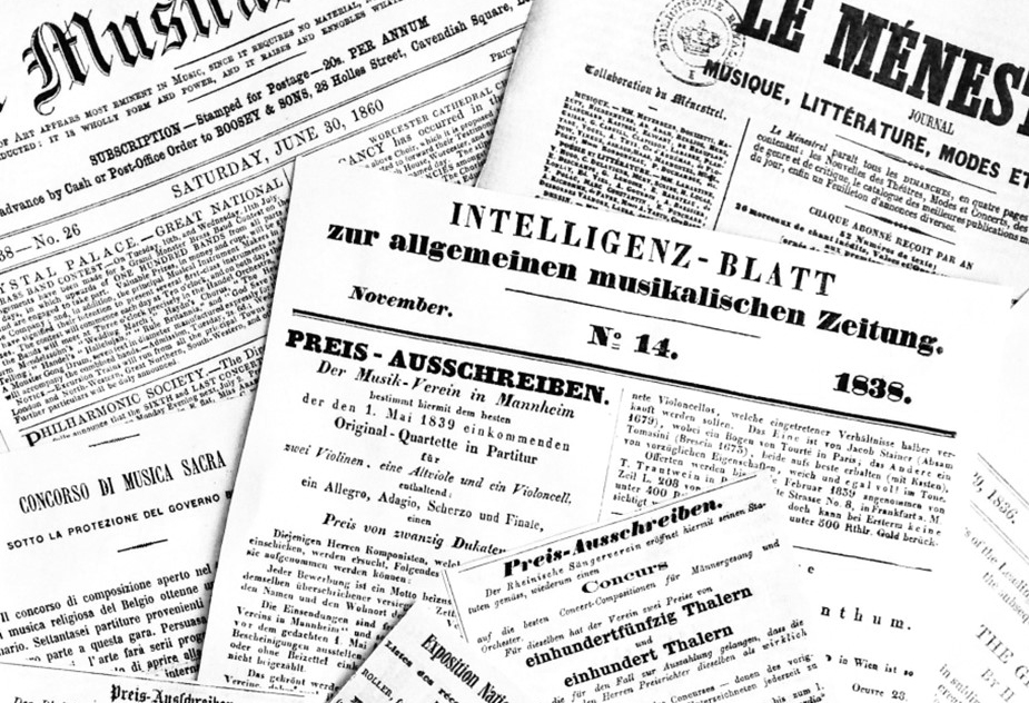 stack of newspapers from the 19th century advertising musical competitions