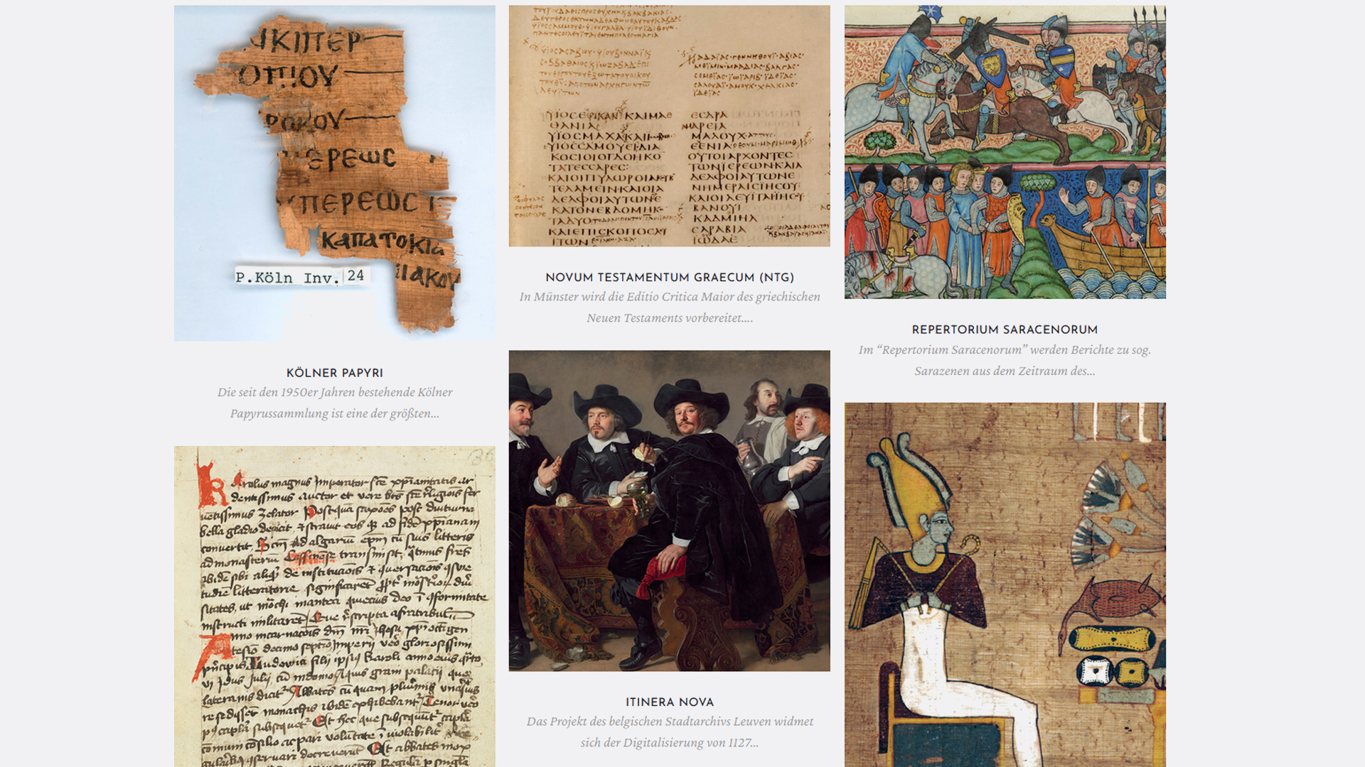 screenshot of the CCeH project portfolio, showing manuscripts, papyri and paintings