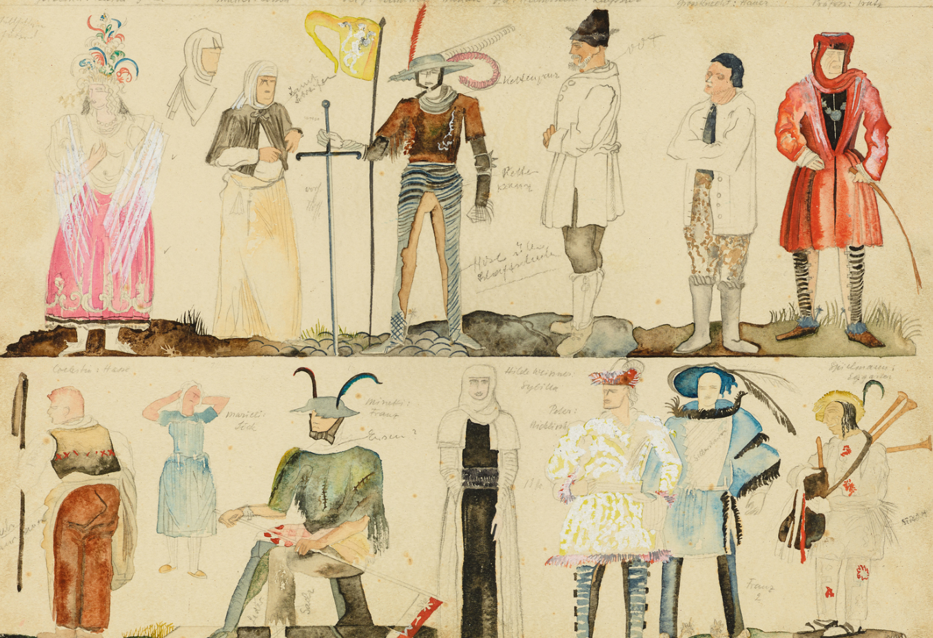 costume design for a theater production, 1934