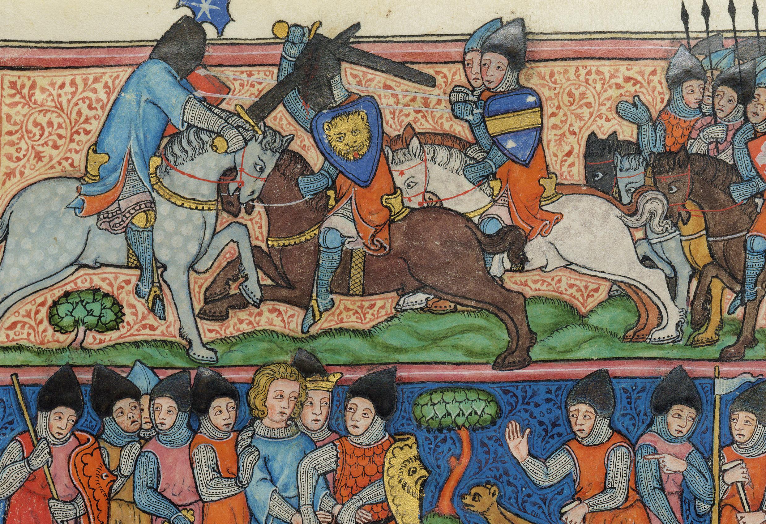 medieval depiction of franks fighting saracens