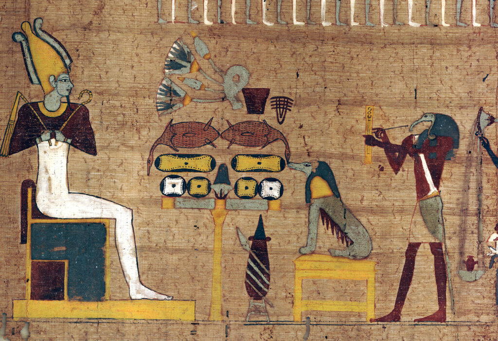 depiction of the judgement of dead on an ancient egyptian papyrus scroll